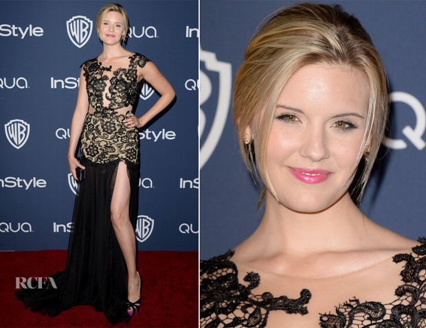 Maggie Grace In Mac Duggal - InStyle and Warner Brothers Golden Globes Awards Party