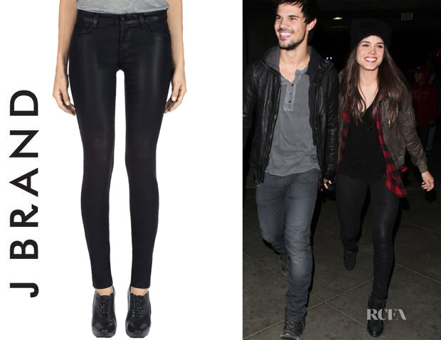 Marie Avgeropoulos' J Brand '620' Lacquered Skinny Jeans