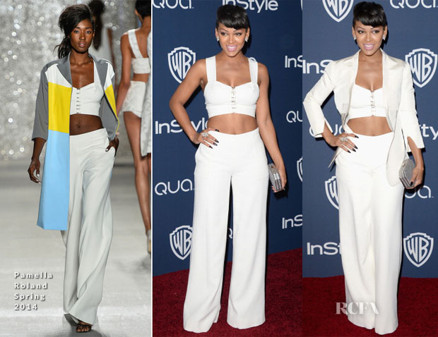 Meagan Good In Pamella Roland - InStyle and Warner Brothers Golden Globes Awards Party