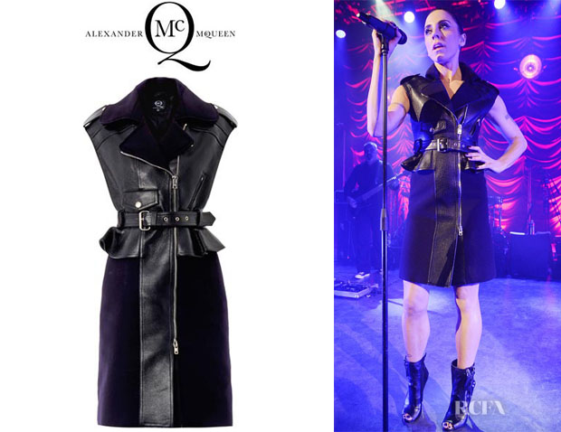 c76a5f3b6f7 Melanie Chisholm s McQ Alexander McQueen Leather Biker Peplum Dress