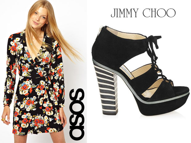 Melissa McCarthy In ASOS Floral Wrap Dress & Jimmy Choo Hammer sandals