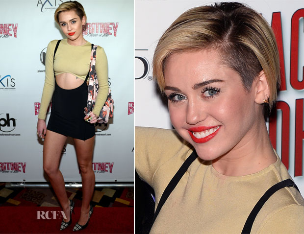 Miley Cyrus In Vintage Calvin Klein & Vintage Issey Miyake - 'Britney Piece of Me' Opening Night