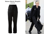 Miley Cyrus' Maison Martin Margiela Two Tone Satin Striped Trousers