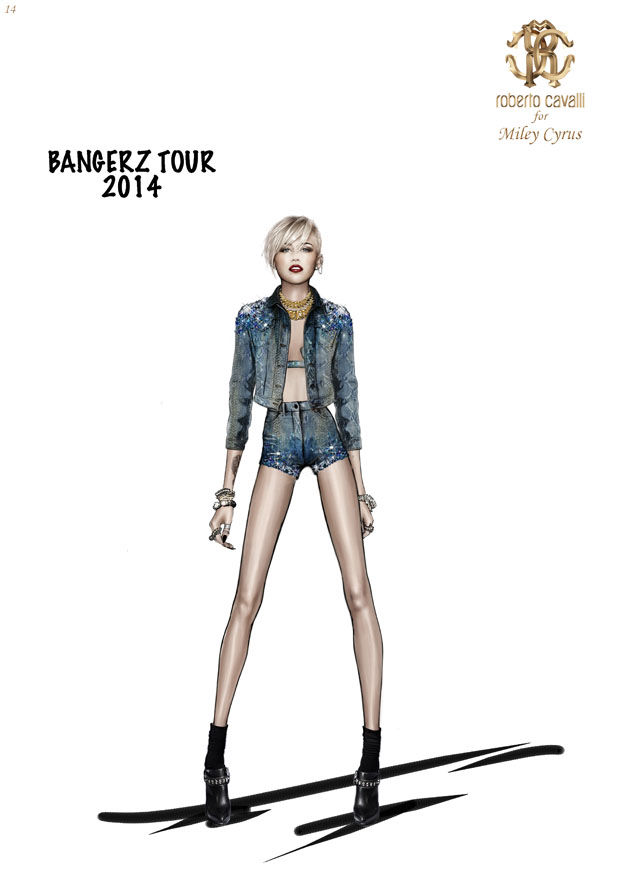 Miley Cyrus in Roberto Cavalli  'The Bangerz World Tour' Sketches