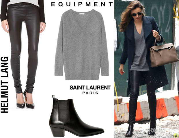 Miranda Kerr's Equipment 'Asher' Cashmere Sweater, Saint Laurent 'Rock' Low Boots And Helmut Lang Stretch Leather Pants