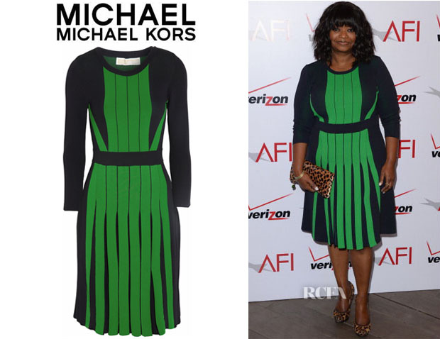 Octavia Spencer's MICHAEL Michael Kors Pleated Stretch-Knit Dress