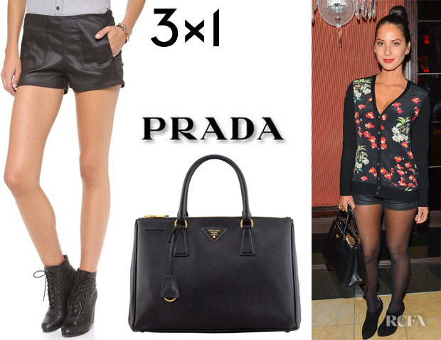 Olivia Munn's 3x1 'Moto' Mini Shorts And Prada 'Saffiano' Tote
