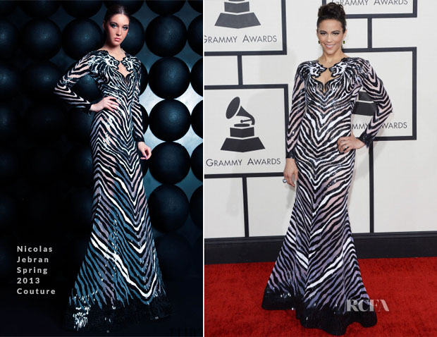 Paula Patton In Nicolas Jebran Couture - 2014 Grammy Awards