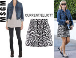 Reese Witherspoon's Current/Elliott 'Snap' Denim Jacket And MSGM A-Line Leopard Print Skirt