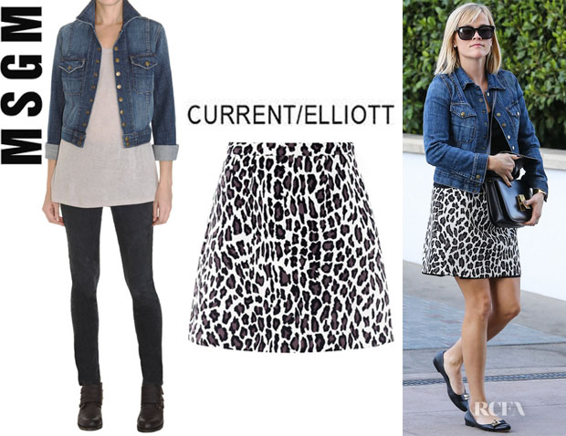 Reese Witherspoon's CurrentElliott 'Snap' Denim Jacket And MSGM A-Line Leopard Print Skirt