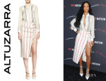 Rihanna's Altuzarra 'Chika' Long-Sleeve Striped Blouse And Altuzarra Striped Tie-Slit Skirt