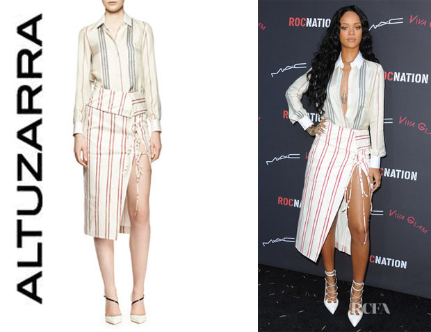 Rihanna's Altuzarra Chika Long-Sleeve Striped Blouse And Striped Tie-Slit Skirt