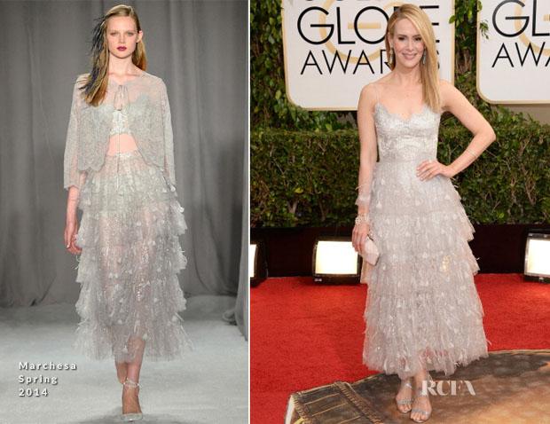 Sarah Paulson In Marchesa 2014 Golden Globe Awards Red Carpet Fashion Awards