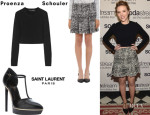 Scarlett Johansson's Proenza Schouler Cropped Ponte Sweater, Proenza Schouler Tweed Chiffon Flare Skirt And Saint Laurent 'Janis' T-Bar Strap Sandals