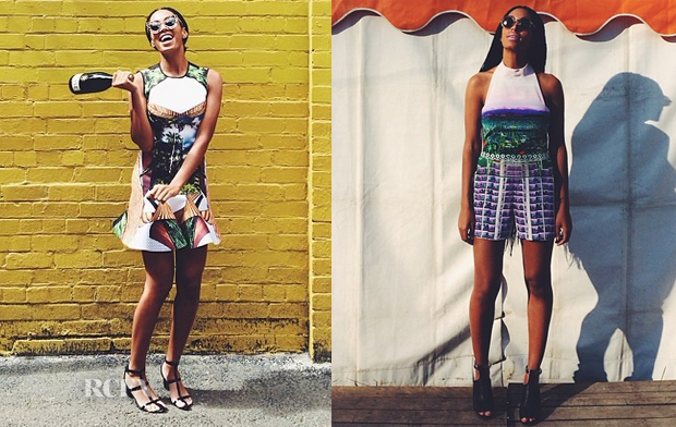 Solange Knowles In Clover Canyon & Mary Katrantzou  - Instagram
