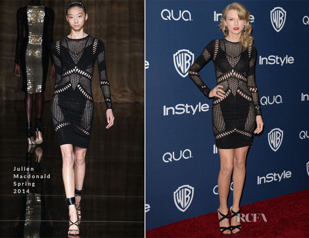 Taylor Swift In Julien Macdonald - InStyle and Warner Brothers Golden Globes Awards Party