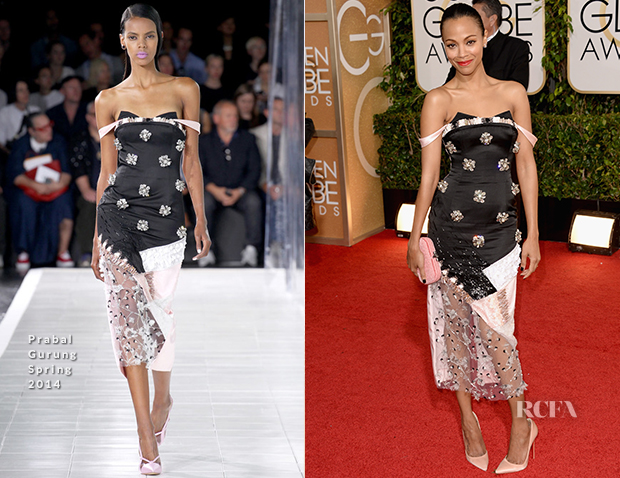Zoe Saldana In Prabal Gurung - 2014 Golden Globe Awards