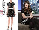 Zooey Deschanel's RED Valentino Polka Dot Bubble Skirt Dress