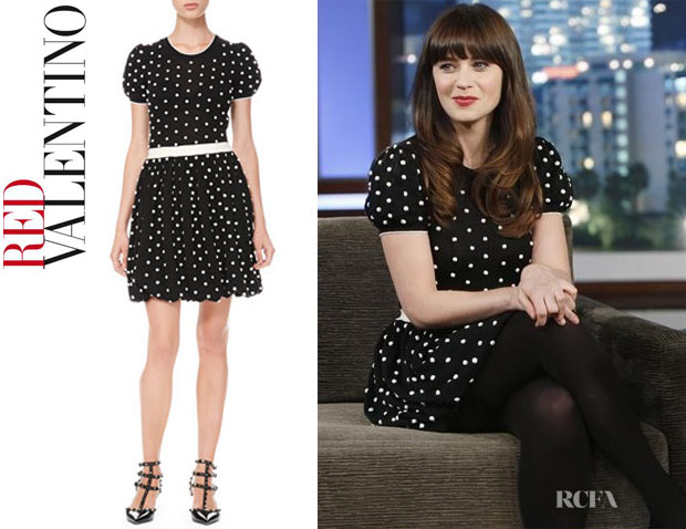 Zooey Deschanel's RED Valentino Polka Dot Bubble-Skirt Dress