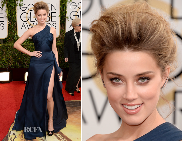Amber Heard In Versace - 2014 Golden Globes