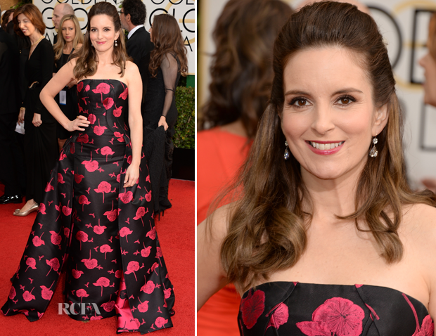 Tina Fey In Carolina Herrera - 2014 Golden Globes