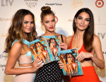 Chrissy Teigen in Fyodor Golan, Nina Agdal in Dolce & Gabbana, and Lily Aldridge in Calvin Klein Collection