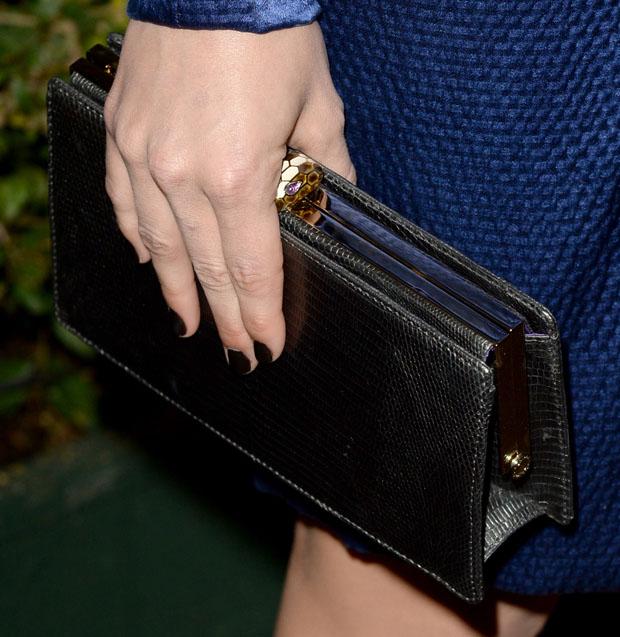 Emmy Rossum's BVLGARI clutch