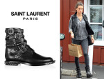 Alessandra Ambrosio's Saint Laurent 'Signature Rangers' Studded Leather Boots