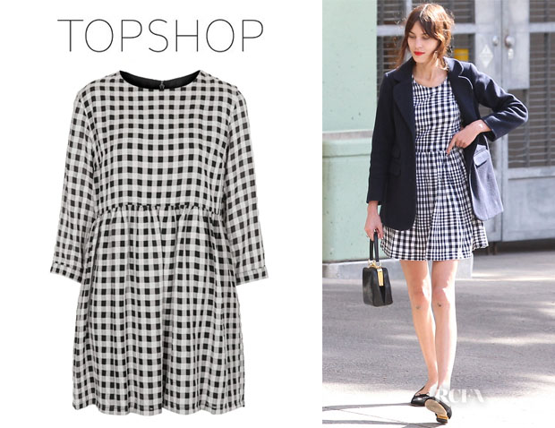 Alexa Chung's Topshop 'Searsucker' Gingham Smock Dress