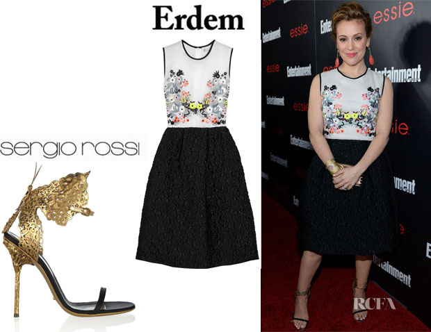 Alyssa Milano's Erdem 'Faris' Embroidered Silk-Organza And Jacquard Dress And Sergio Rossi Cutout Metallic Sandals