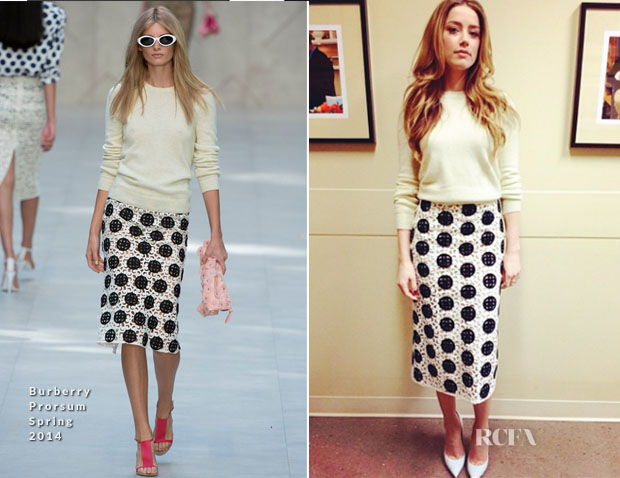 Amber Heard In Burberry Prorsum - Live With Kelly & Michael