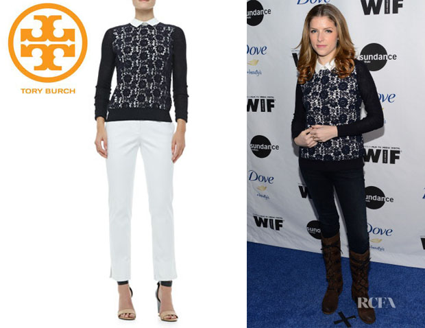 Anna Kendrick's Tory Burch 'Sandy' Lace-Front Sweater