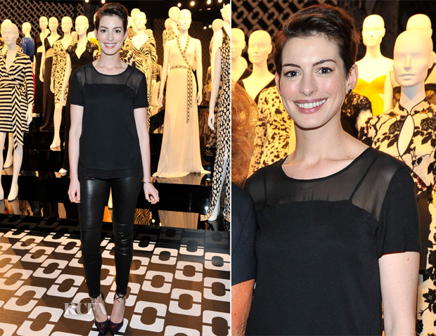 Anne Hathaway In Diane von Furstenberg - First Annual Luncheon to Honor The Female Nominees of the 86th Oscars