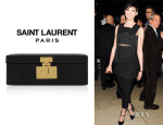 Anne Hathaway's Saint Laurent 'Micro Mellettes' Leather Box Clutch