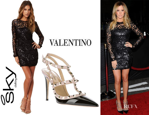 Ashley Tisdale's Sky 'Fayina' Long Sleeve Sequin Dress And Valentino 'Rockstud' Pumps