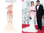 Astrid Munoz' Giambattista Valli Couture Silk Cady One-Shoulder Gown