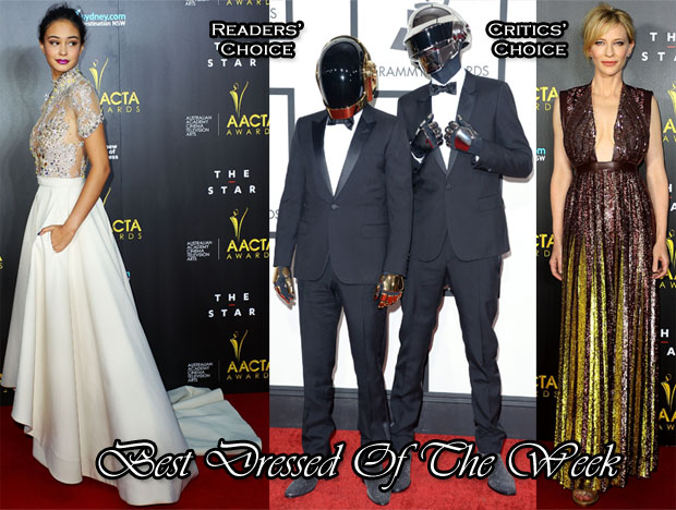 Best Dressed Of The Week - Courtney Eaton In J'Aton Couture, Cate Blanchett In Givenchy & Daft Punk In Saint Laurent