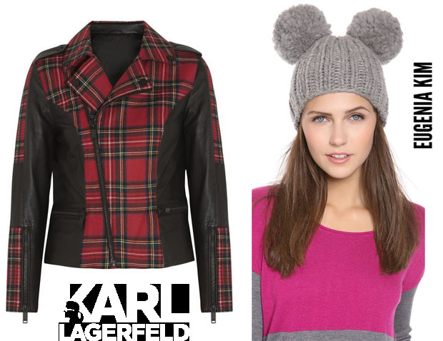 Beyonce Knowles In Karl Lagerfeld Biker Jacket and Eugenia Kim Pom Pom Hat