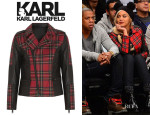 Beyonce Knowles' Karl Lagerfeld Vicious Leather-Trimmed Tartan Jacket