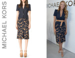 Blake Lively's Michael Kors Short-Sleeve Blazer And Michael Kors Embroidered Wool-Blend Skirt