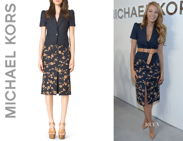 Blake Lively wearing a Michael Kors Short-Sleeve Blazer And Michael Kors Embroidered Wool-Blend Skirt