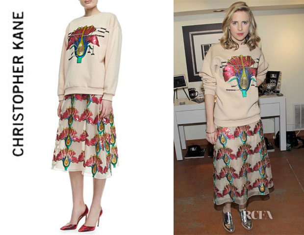 Brit Marling's Christopher Kane Sequined Carnation Sweatshirt And Christopher Kane Sequined Carnation Skirt