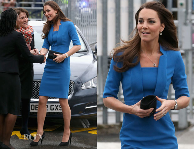 Catherine, Duchess of Cambridge In LK Bennett - The ICAP Art Room Opening At Northolt High School