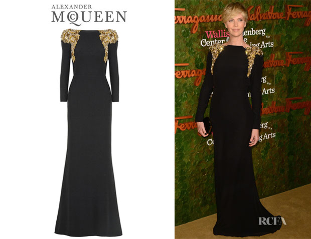 Charlize Theron's Alexander McQueen Embellished Crepe Gown