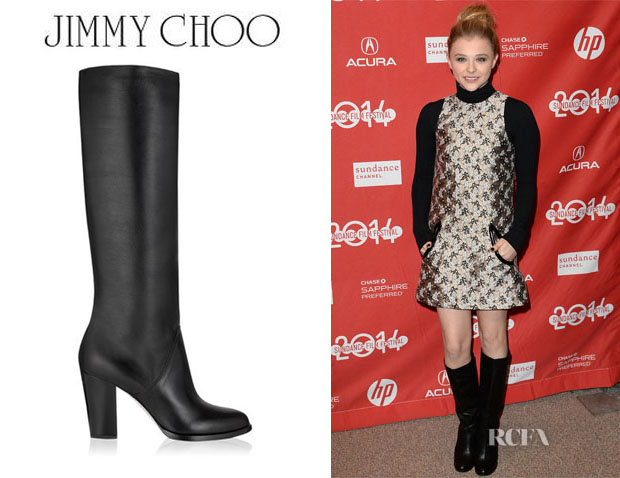 Chloe Grace Moretz' Jimmy Choo 'Marvel' Shiny Calf Knee High Boots