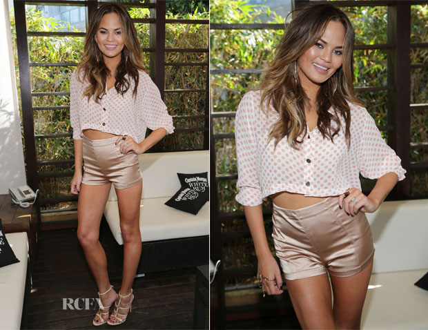 Chrissy Teigen In NTICE & Elisabetta Franchi - Sports Illustrated Swimsuit's 50th Anniversary Poolside Celebration