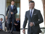 David Beckham In Burberry Tailoring - Major League Soccer Franchise Press Conference