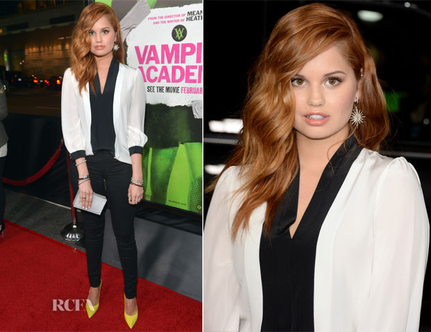 Debby Ryan In Kate Spade New York & J Brand - 'Vampire Academy' LA Premiere