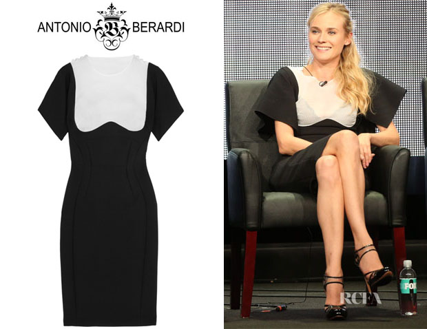 Diane Kruger's Antonio Berardi Contrast-Yoke Stretch Crepe Dress
