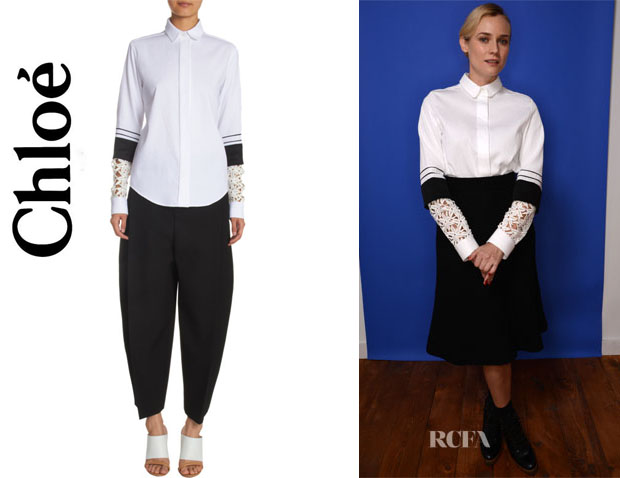 Diane Kruger's Chloé Lace Sleeve Blouse